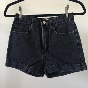 American Apparel Washed Black Denim Shorts
